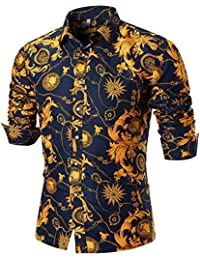 ESAILQ Floral Print Shirt Mens Personality Summer Casual Slim Long Sleeve Printed  Shirt 013fce4d2