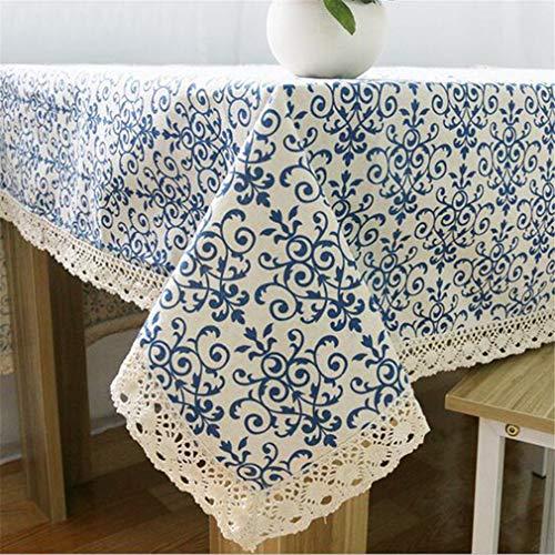 Tuhaxz Blaue Blume Retro Spitze Tischdecke Chinesischen Stil Baumwolle Tischdecke Rechteckigen Esstischdecke Für Tisch Picknick