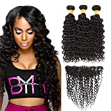 Huarisi Brazilian Deep Wave With Frontal Free Part 3 Bundles Deep Curly Virgin Hair 13x4 Lace Closure Long Natural Color Real Hair Prime on Amazon 22 24 26 + 20 Inches