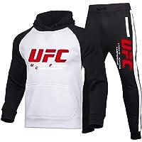 XUCHONG Tuta Sportiva da Uomo UFC Ouma Fighting Letter Printed Sweater + Sports Pants Sports Casual Set(Size:Small,Color…