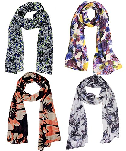 Weavers Villa Set Combo of 4 Summer Scarves Soft PolyCotton Women's Scarf, Stoles