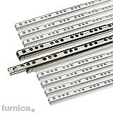 FURNICA Lot de 2 (1 paire) Glissières pour tiroirs à roulement à billes, H17mm (Longueur 246mm)
