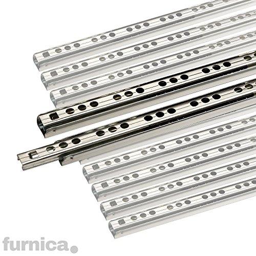 Preisvergleich Produktbild FURNICA 2 Schubladenschienen Teilauszug Rollenauszug Teleskopschiene Kugelführung H17 / L: 278mm