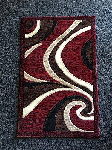 Americana Moderner Läufer Bereich Teppich Swirl Design Burgund # 144 (15,2. x7ft3in.) Modern 2 Feet X 3 Feet Rot -