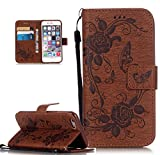 Roreikes Apple iphone 6 Hülle, iphone 6S Case (4.7 Zoll), Muster PU Leder Handyhülle Flip Wallet Cover Blume Schmetterling Pattern Hülle Bookstyle Tasche mit Strap Portable Carrying Schutz Cases Etui Lederhülle Handytasche mit Magnetic Closure Stand ID Card Slots Pouch Soft Silikon für Apple iphone 6 / iphone 6S (4.7 Zoll) (Braun)