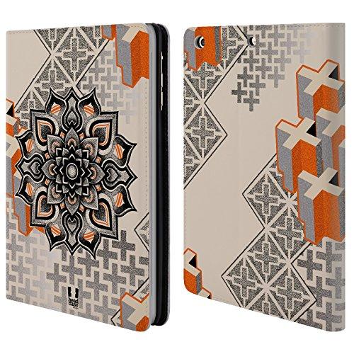 Head Case Designs Mandala E Croce Arte Puntiforme 2 Cover telefono a portafoglio in pelle per Apple iPad mini 1 / 2 / 3 - Croce Cucita Arte