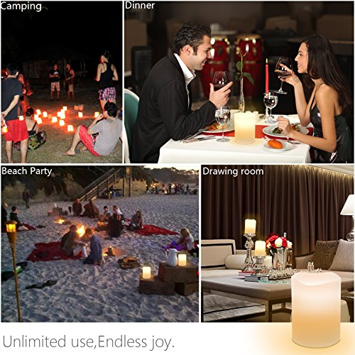 'Sweet Pai RGBW Bluetooth LED Flameless Candle Lights, Flameless Real Wax Moving Wick LED Candle For Home/Fiesta/Halloween/Christmas/Wedding Decor with temporizador Vanilla Scent 3.5