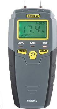 General Tools MMD4E Digital Moisture Meter, Water Leak Detector, Moisture Tester, Pin Type, Backlit LCD Display With Audible