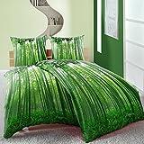 Linon Baumwoll Bettwäsche 135x200 4 tlg Bambus Dschungel grün