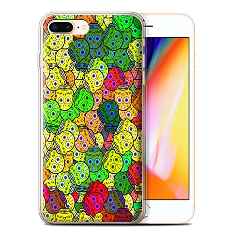 Stuff4 Gel TPU Hülle / Case für Apple iPhone 8 Plus / Türkis Muster / Süßigkeiten Schädel Kollektion Gelb
