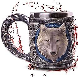 """Jarra """"White Wolve"""" - Lobo blanco bajo el cielo estrellado - Decoración medieval fantasía fantástico"""