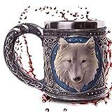 Boccale 'White Wolve' - Lupo bianco sotto il cielo stellato - Decorazione medievale Fantasy