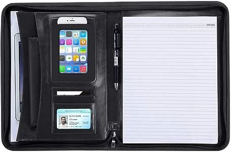 Schwarz Design Leder Organizer Portfolio f/ür A4/Notizblock und 33/cm MacBook