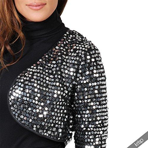 KRISP® Femme Boléro Mini Veste en Sequin Ouvert Fête Noël Nouvel An Soirée Argent