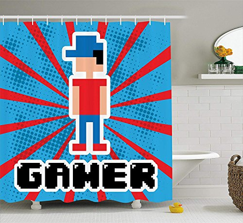 MLNHY Video Games Shower Curtain Set, Blue and Red Stripes Boom Beams Retro 90's Style Toys Boy with Cap Gamepad, Fabric Bathroom Decor with Hooks, Vermilion Blue,Size:66W X 72L Inche -