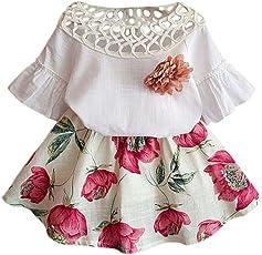 New Princess Kleid, Türkei Baby Kids Mädchen Short Sleeve Hohl Out Shirt + Blumen Druck Rock Set Sommer Kleid Outfits Kleidung SET für 3–7Jahre alt 7 Years Old weiß