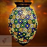 EarthenMetal Handcrafted Egg Shaped Bouquet Of Flowers Designed Glass Hanging Light