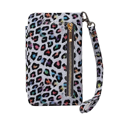 "xhorizon (TM) FM8 [Aktualisiert] 2 in 1 Premium Bunte Leopard  Leder Brieftasche  Kristallknopfverschluss Magnet Auto Mount  Phone Halter Kompatibel Folio Tasche für iPhone 6 Plus/iPhone 6S Plus [5.5"" Samsung Galaxy Note 5"