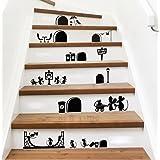 Ufengke Muursticker, cartoonmotief, leuke muizengaten, voor kinderkamer en babykamer, verwijderbare wandtattoo, zwart