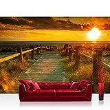 Vlies Fototapete 400x280 cm PREMIUM PLUS Wand Foto Tapete Wand Bild Vliestapete - SUNSET BEACH - Sonnenaufgang Strand Meer Felsen Sunset - no. 064