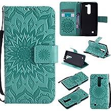 Funda LG G4c/LG G4 mini Wanxida Carcasa de Girasol de Impresión en Relieve Funda de PU Cuero Suave Carcasa Cartera con Cierre Magnético y Ranura Para Tarjetas Carcasa de Estilo Libro Delgado plegable Funda Protectora Caja de Función Soporte Para el LG G4c/LG G4 mini- Verde
