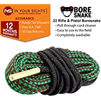 Rifle, Pistola, pistola Bore Snake Cleaner. Todos los .17 de calibre .22 .44 .243 .270 .300 9 mm 12 GA 20 GA 410 GA, .22