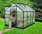 Gartenwelt Riegelsberger Gewächshaus Venus - Ausführung: 5000 HKP 6 mm dunkelgrün, Fläche: ca. 5 m², mit 1 Dachfenster, Sockel: 1,92 x 2,54 m