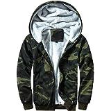 Volwassan Fleece Lined Mens Hooded Jacket Plus Size Winter Warm Zip Hoodie Camouflage Print Oversized Sweatshirt Jumper Casua