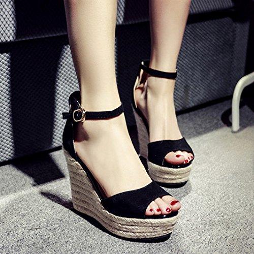 Sandálias De Cunha Em Taiwan Impermeáveis verão Uma Boca Peixe Fêmea Saltos Grossos Femininos Sapatos Pretos Todos Os Alunos Greve Preto (11 Centímetros)
