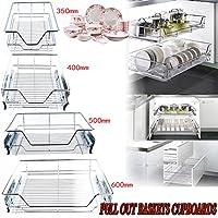 GOTOTOP Organizador Deslizante del Gabinete para Cocina Cesta de Cable Cromado de Almacenamiento para Cajón de Estanterías Alacena de Cocina (350mm)