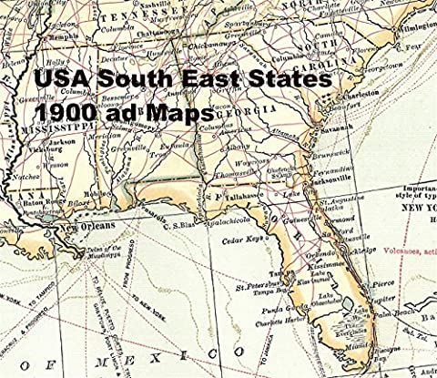 USA South East 1900 Maps: Atlantic coast to Mississippi & Appalachian Mountains to Gulf of Mexico
