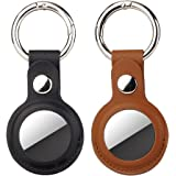 PU Leather Key Ring voor Apple AirTag, 2 stuks AirTags Case Cover met sleutelhanger, Mini AirTags Tracker Cover, Tracker Keyc