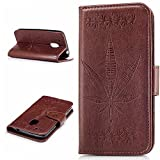 MOTO G4 Play Case,BONROY® MOTO G4 Play Maple leaf embossed pattern PU Leather Phone Holster Case, Flip Folio Book Case Wallet Cover with Stand Function, Card Slots Money Pouch Protective Leather Wallet Case for MOTO G4 Play