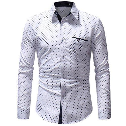 VEMOW Meistverkaufte Mid-Season Herren Herbst Casual Formale Polka Dot Slim Fit Langarm-Tägliche Party Business Workout Shirt Top Bluse(Weiß, EU-54/CN-2XL)