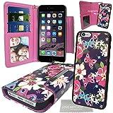 """Stylebitz / Élégant étui portefeuille, motif fleurs & papillons, en cuir PU avec coque détachable pour Apple iPhone 6 (4.7"""") avec chiffon de nettoyage Stylebitz (violet & rose)"""