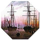 Bilderdepot24 Kunstdruck - Alte Meister - Caspar David Friedrich - Ansicht Eines Hafens - Achteck 60x60 cm - Leinwandbilder - Bilder als Leinwanddruck - Bild auf Leinwand - Wandbild