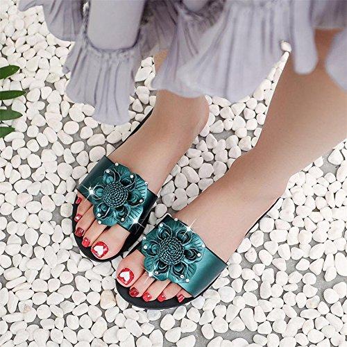 Longra Donna Pattini decorati con fiore di personalità di moda Verde