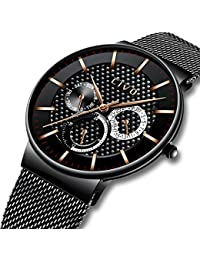 CIVO Mens Black Watches Multifunctional Waterproof Date Calendar Fashion Wrist Watch for Men Teenager Boys Luxury Business Casual Dress Mens Sports Watches with Stainless Steel Mesh Band