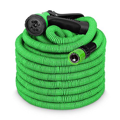 tillvex flexiSchlauch - Flexibler Gartenschlauch 15m Grün - Testurteil Sehr Gut - Green Edition + Hersteller-Kundenservice aus Berlin + verstärktem Gewebe, Dehnbarer Wasserschlauch