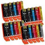 20 Druckerpatronen mit Chip und Füllstandsanzeige kompatibel zu Canon PGI-570 / CLI-571 (4x Schwarz breit, 2x Schwarz schmal, 4x Cyan, 4x Magenta, 4x Gelb, 2x Grau) passend für Canon Pixma Drucker