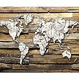 decomonkey Fototapete Weltkarte Holzoptik 300x210 cm XL Tapete Fototapeten Vlies Tapeten Vliestapete Wandtapete moderne Wandbild Wand Schlafzimmer Wohnzimmer Uhr Kontinente Welt Holz Brett braun