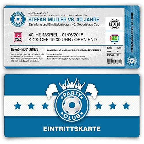 Einladungskarten Zum Geburtstag (30 Stück) Als Fußballticket Karte Fussball  Einladung Ticket In Blau: Amazon.de: Bürobedarf U0026 Schreibwaren