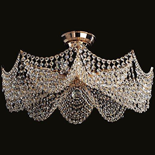Lampadario da soffitto lussuoso con gocce cristalli metallo ottone classico barocco 9-lamp. Ø61cm E14 9x40W 230V