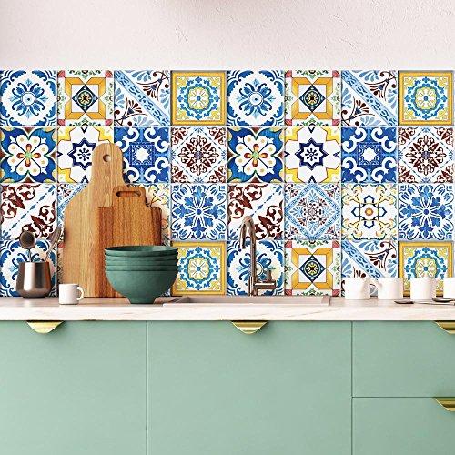 15 Adhesivo para azulejos 20x20 cm - PS00131 - Obidos - Adhesivo decorativo para azulejos para baño y cocina - Stickers azulejos - Collage de azulejos