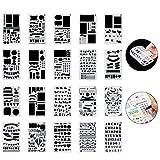 Ponangaga 20pcs DIY Bullet Journal Pochoir à Dessin en Plastique, Guide de Lettres Modèle Planner Pochoirs pour Agenda/Carte/Journal/Calendrier/Scrapbooking/Projets artistiques, 10.8 x 18cm