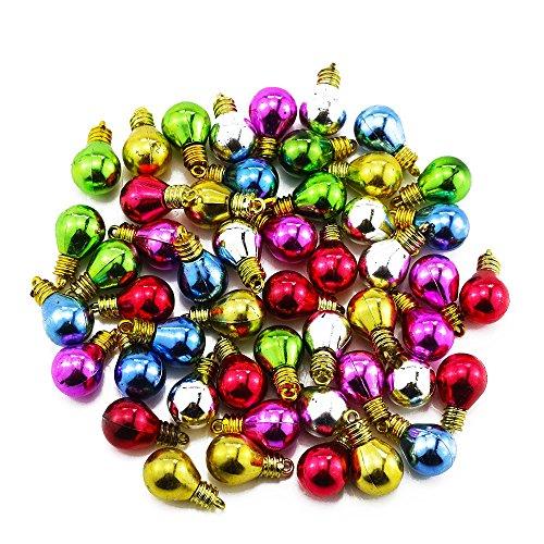 Etmact 100 Stück sortierte Farben Mini runde Form Kunststoff Glühbirnen Perlen Weihnachten Dekoration für DIY Handwerk