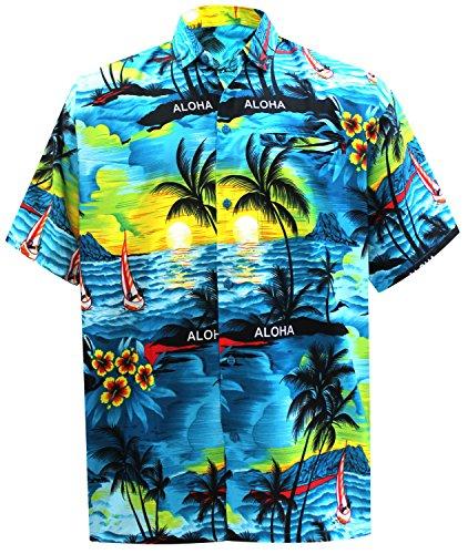 La Leela Männer Hawaiihemd Kurzarm Button Down Kragen Fronttasche Karibik Strandhemd Manner Urlaub Casual Herren Aloha Teal Blau_293 5XL Likre 538