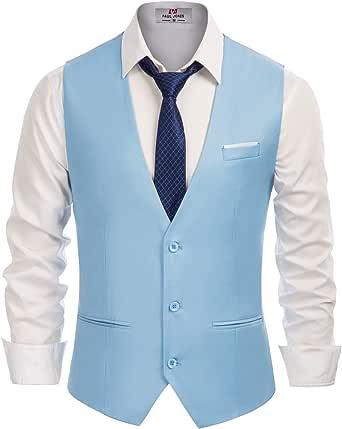 PJ PAUL JONES Men's Slim Fit Business Dress Suit Vests 3 Button Formal Waistcoat, Blue, XXL