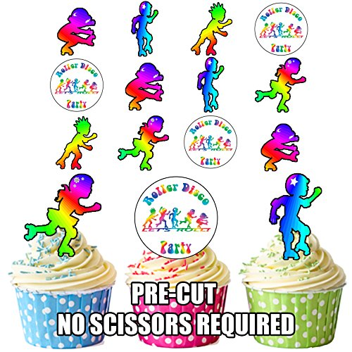vorgeschnittenen Rollschuhe/Skaten Disco Party–Essbare Cupcake Topper/Kuchen Dekorationen (24Stück)