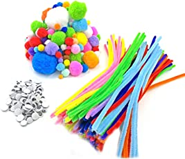 TOYMYTOY Handmade Chenille Stems Pompoms Self-Sticking Wiggle Googly Eyes for Craft DIY Art Supplies (Mixed Color)